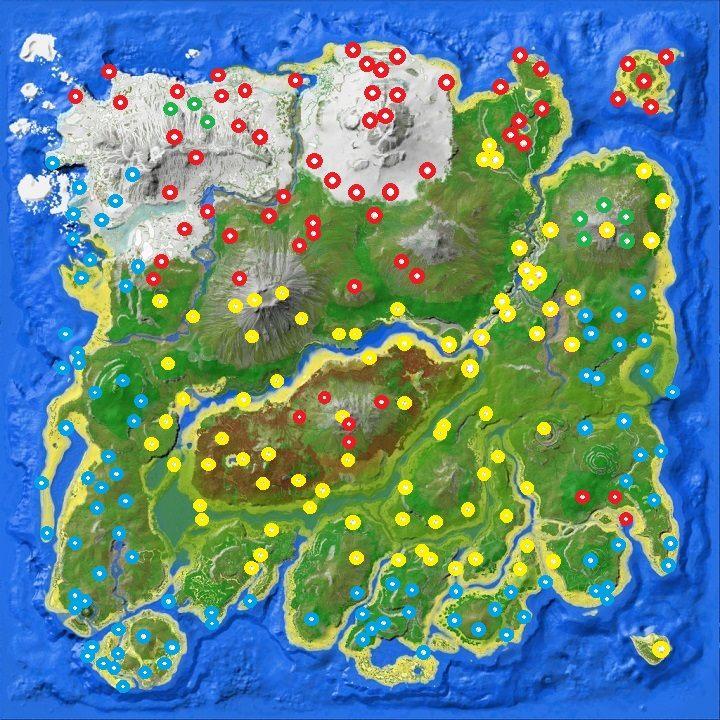 Określony kolor oznacza najlepszy możliwy dostępny zrzut w danej lokacji - Informacje podstawowe o zrzutach | Mapa świata, zrzuty i bossowie - ARK: Survival Evolved - poradnik do gry