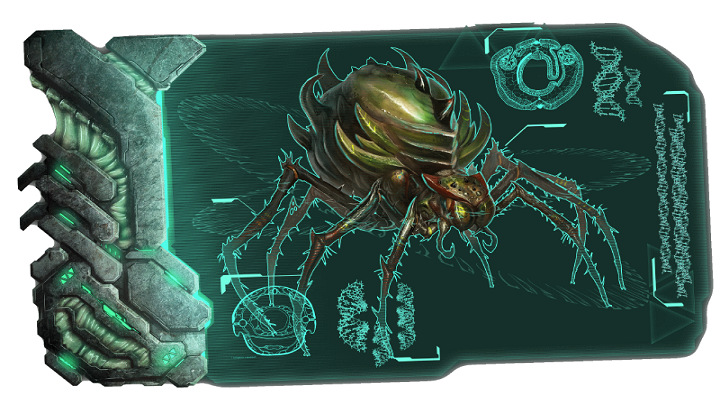 Ten ogromny pająk to jeden z bossów, z którymi możemy stoczyć walkę po zdobyciu wszystkich artefaktów - Mapa świata i bossowie | Mapa świata, zrzuty i bossowie - ARK: Survival Evolved - poradnik do gry