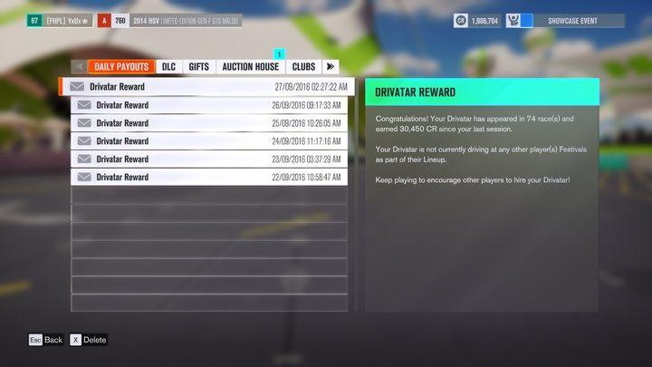 Codziennie otrzymasz automatyczną wiadomość, w ilu występach wziął udział twój drivatar i ile pieniążków zarobił. - Szybkie zdobywanie fanów / kredytów / PD - Podstawy rozgrywki - Forza Horizon 3 - poradnik do gry