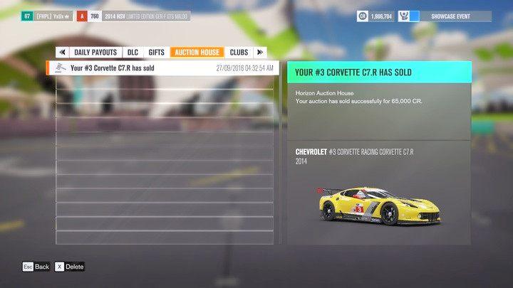 Informacja o sprzedaży zostanie dostarczona na twoją skrzynkę powiadomień aukcyjnych. - Nabywanie pojazdów - Podstawy rozgrywki - Forza Horizon 3 - poradnik do gry