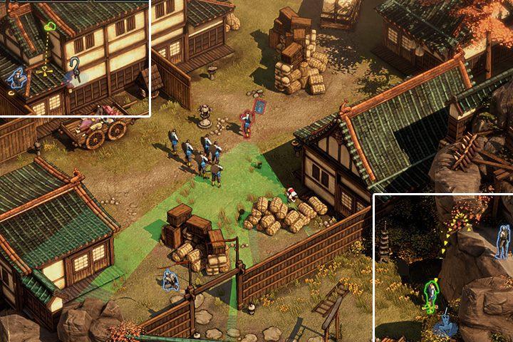 Kiedy dotrzesz na górę, poczekaj aż przeciwnik podejdzie pod twoją półkę i zaatakuj go z góry - Misja 1 - Zamek Osaka - Shadow Tactics: Blades of the Shogun - poradnik do gry