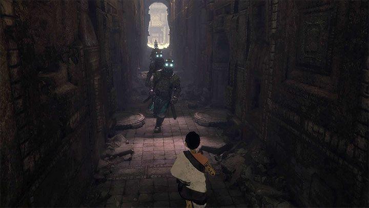 Wycofaj się i pozwól Trico na wyeliminowanie potworów - Podniesienie bramy przygniatającej ogon Trico - The Last Guardian - poradnik do gry