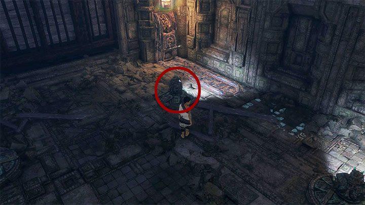 Podobnie jak wcześniej Twoim pierwszym priorytetem będzie bezpieczne przedostanie się na główny poziom sali - Przejście przez dwie sale z obracającymi się strażnikami - The Last Guardian - poradnik do gry