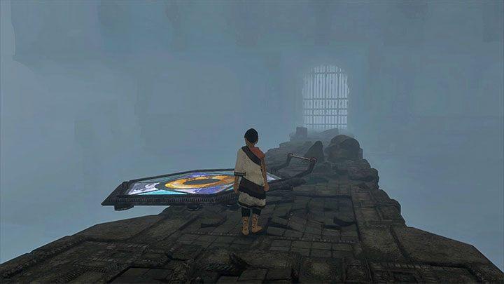 Zrzuć witraż w przepaść - Przejście przez dwie sale z obracającymi się strażnikami - The Last Guardian - poradnik do gry