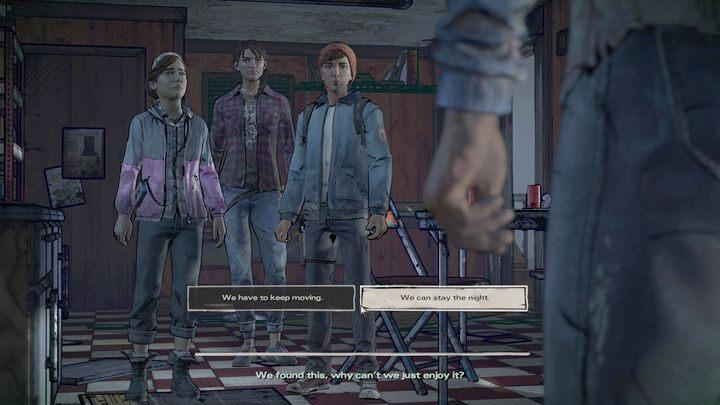 Pierwszy ważny wybór dotyczy wydarzeń przedstawionych na złomowisku - Ważne wybory | Epizod 1 - Ties that Bind - The Walking Dead: The Telltale Series - A New Frontier - poradnik do gry