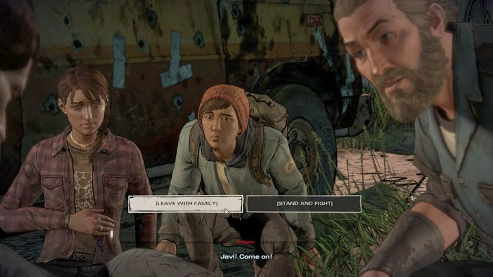 Kolejny ważny wybór kończy opisywany wyżej epizod pierwszy - Ważne wybory | Epizod 1 - Ties that Bind - The Walking Dead: The Telltale Series - A New Frontier - poradnik do gry