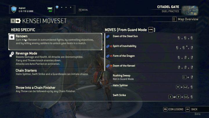 Ekran przedstawiający dostępne ciosy i modyfikatory postaci. - Kensei - For Honor - poradnik do gry