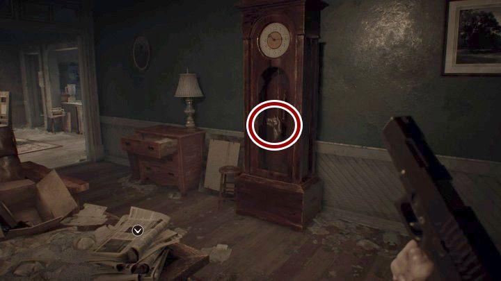 Na początek podejdź do zegara przy ścianie naprzeciwko skąd przyszedłeś i weź z niego wahadło (pendulum) - Główny hall - Resident Evil VII: Biohazard - poradnik do gry
