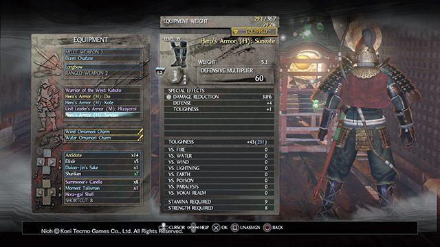 W ekwipunku całość pancerza podzielona jest na jego poszczególne elementy - Pancerze - NiOh - poradnik do gry