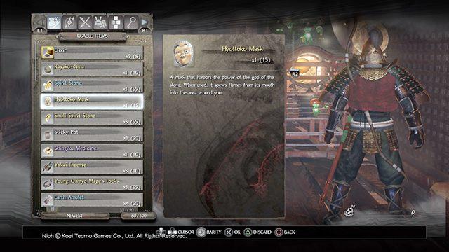 Maska Hyottoko jest jednym z ciekawszych przedmiotów - Przedmioty użytkowe i przedmioty misji - NiOh - poradnik do gry
