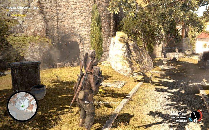Możesz wysadzić mur, by stworzyć alternatywne wejście do grobowca - Przeszukanie cmentarza - Sniper Elite 4 - poradnik do gry