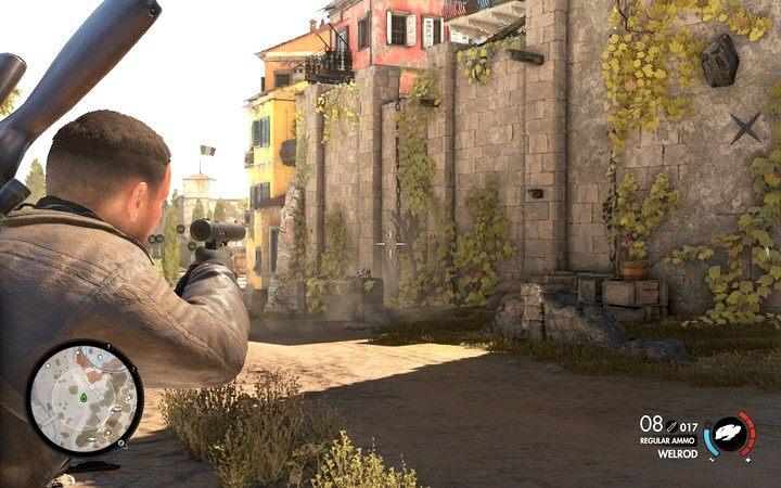 Możesz wspiąć się po łańcuchu na mur, nie powinieneś tam natrafić na więcej niż maksymalnie jednego oponenta (jeśli nie wszczynałeś zbyt wielu alarmów) - Znajdź kwaterę partyzantów - Sniper Elite 4 - poradnik do gry
