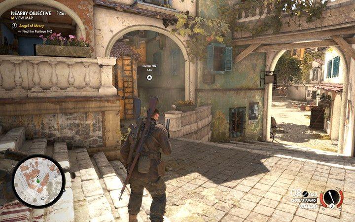 Kwatera główna znajduje się przed placem głównym (M2,5), wejście do niej (w piwnicy) chronione jest przez dwóch nazistów - Znajdź kwaterę partyzantów - Sniper Elite 4 - poradnik do gry