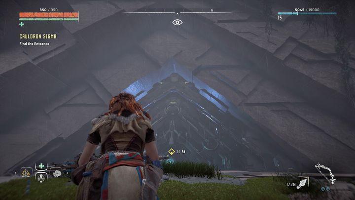 Po dotarciu na miejsce okazuje się, że Fokus wykrywa nieznane źródło sygnału, które ukryto we wnętrzu góry - Kocioł SIGMA (Cauldron SIGMA) - zadanie | Korona matki - Horizon Zero Dawn - poradnik do gry