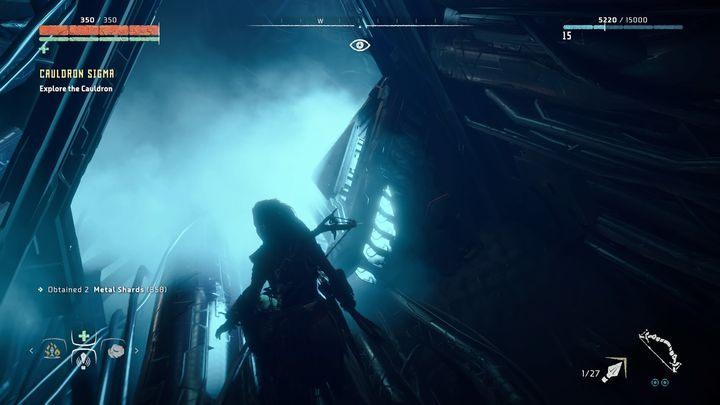 Dalsza droga prowadzi w dół i chwilowo nie znajdziesz w pobliżu żadnych wrogich urządzeń - Kocioł SIGMA (Cauldron SIGMA) - zadanie | Korona matki - Horizon Zero Dawn - poradnik do gry