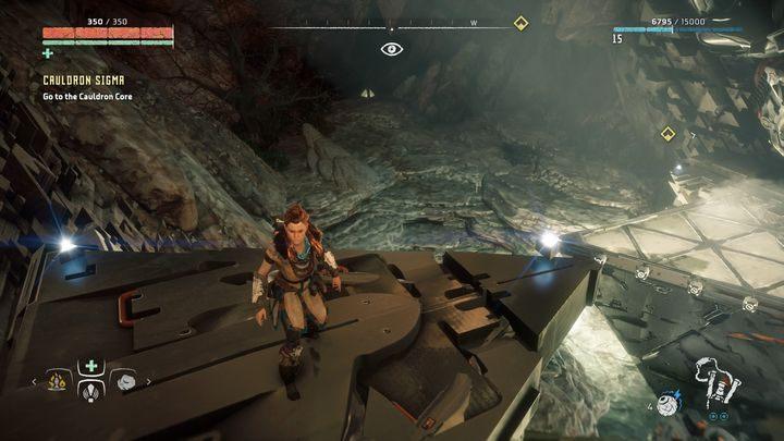 Zejdź po linie i wskocz na widoczną na obrazku platformę - Kocioł SIGMA (Cauldron SIGMA) - zadanie | Korona matki - Horizon Zero Dawn - poradnik do gry
