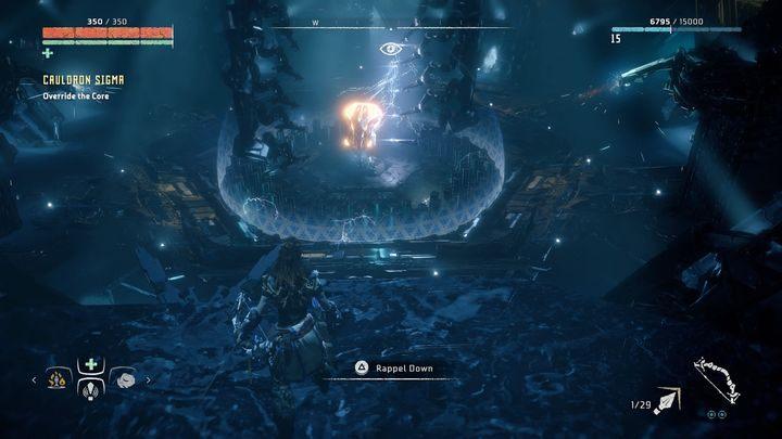 Po chwili uruchomiony zostanie zapis gry, przed tobą walka z Nadymaczem Ognistym - Kocioł SIGMA (Cauldron SIGMA) - zadanie | Korona matki - Horizon Zero Dawn - poradnik do gry