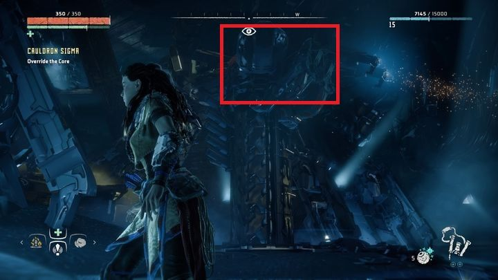 Wokół pola siłowego znajdziesz cztery słupy, które je generują - Kocioł SIGMA (Cauldron SIGMA) - zadanie | Korona matki - Horizon Zero Dawn - poradnik do gry