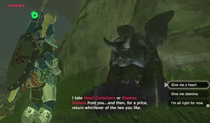 Od tej pory, możesz oddawać serca/wytrzymałość dziwnej istocie - Jak zwiększyć staminę i zdrowie? - The Legend of Zelda: Breath of the Wild - poradnik do gry