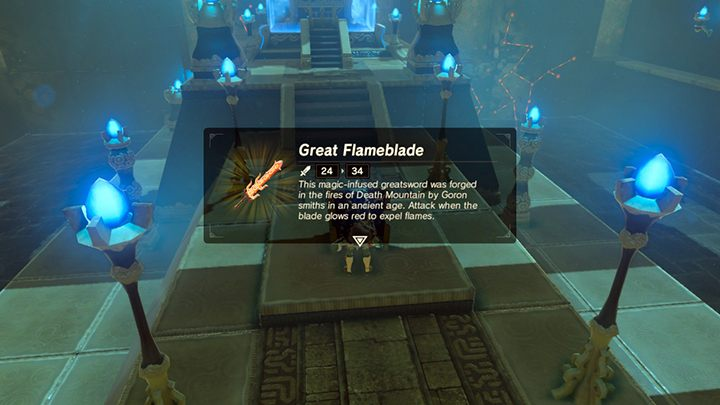 Wyjmij ze skrzyni Great Flameblade - Świątynie (Shrines) w Lanayru Tower - The Legend of Zelda: Breath of the Wild - poradnik do gry