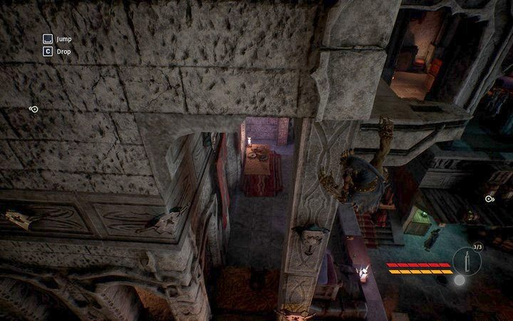 Przesuwaj się w lewo używając uchwytów na ścianie - Zdobądź przepustkę | Misja 2 - Korrangar | Opis przejścia - Styx: Shards of Darkness - poradnik do gry