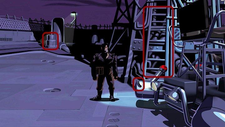 Dotknij jej, a gdy włączy się alarm, ukryj się w ciemnym kącie po lewej, za beczkami (osiągnięcie Annoyed Floyd) - Pomóż Mo naprawić motor | Rozdział pierwszy - Full Throttle Remastered - poradnik do gry