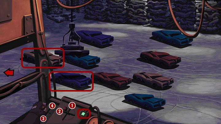 Najpierw wciśnij przycisk po prawej - powinien zaświecić się na seledynowo, po czym użyj dźwigni usytuowanej bardziej po prawej, przesuwając ją w górę (nie trzeba przeciągać, tylko kliknąć punkt, w który chcesz przemieścić dźwignię - 1), a potem w lewo (2) - Pomóż Mo naprawić motor | Rozdział pierwszy - Full Throttle Remastered - poradnik do gry