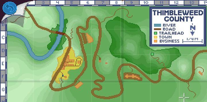 Korzystaj z mapy, by szybko poruszać się po kolejnych lokacjach. - Part 3 - The Arrest | Opis przejścia - Thimbleweed Park - poradnik do gry