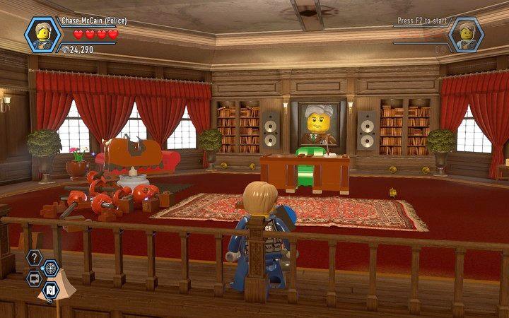 Pokój naczelnika - zniszcz żyrandol i przebuduj go na blokadę wyjścia z toalety - Cele więzienne na wyspie | Rozdział 3 - LEGO City: Tajny Agent - poradnik do gry