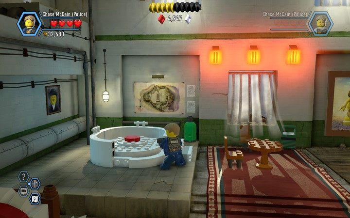 Pierwszy przycisk w jacuzzi - Cele więzienne na wyspie   Rozdział 3 - LEGO City: Tajny Agent - poradnik do gry