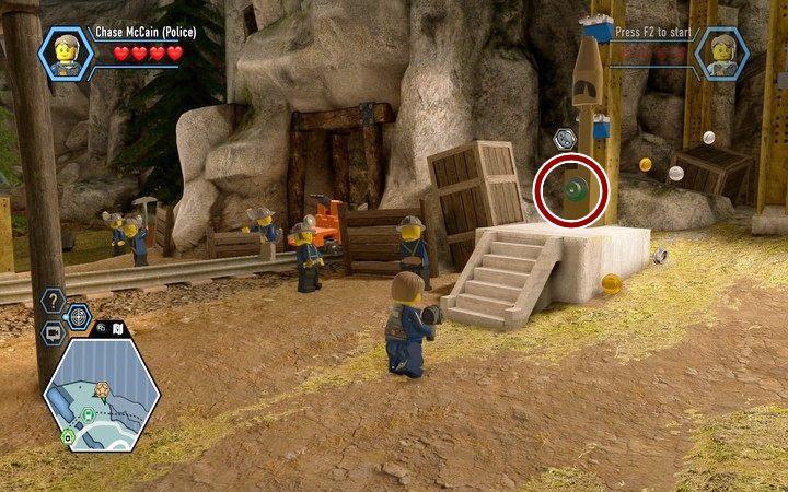 Znajdź zawór, którym aktywujesz gwizdek oznaczający przerwę w pracy - Kopalnia | Rozdział 3 - LEGO City: Tajny Agent - poradnik do gry