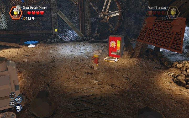 Po użyciu wajchy otrzymasz klocki z których zbudujesz automat do pozyskiwania dynamitu - Kopalnia   Rozdział 3 - LEGO City: Tajny Agent - poradnik do gry