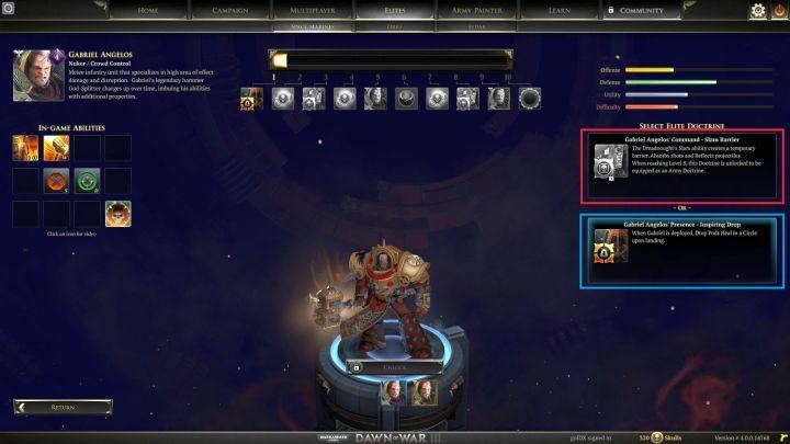 Na czerwono zaznaczone doktryny rozkazów, na niebiesko aur. - Punkty i jednostki elitarne | Rozgrywka - Warhammer 40,000: Dawn of War III - poradnik do gry