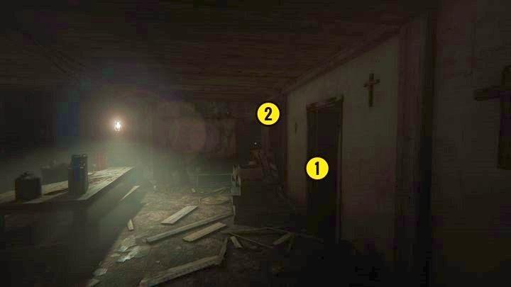 Po wyjściu z pokoju zobaczysz powyższy widok - Kaplica - Outlast 2 - poradnik do gry