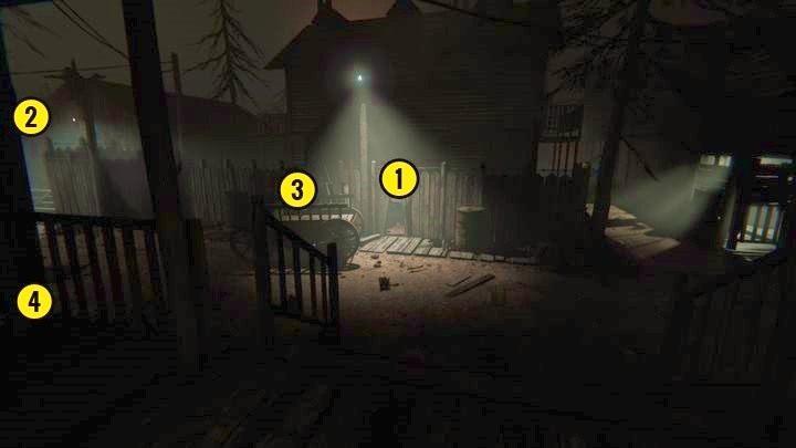 Przed sobą widzisz dziurę w płocie [1] i bramę po lewej [2] - Kaplica - Outlast 2 - poradnik do gry