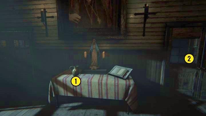 Po wejściu do niej staniesz przed małym stolikiem - Kaplica - Outlast 2 - poradnik do gry