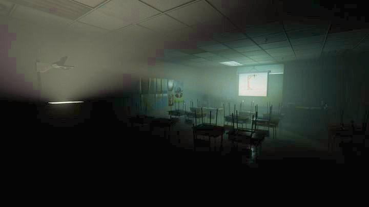 W jednej z klas znajdziesz przeźrocze na którym dziewczynki grały w wisielca - Wewnętrzny demon - Outlast 2 - poradnik do gry