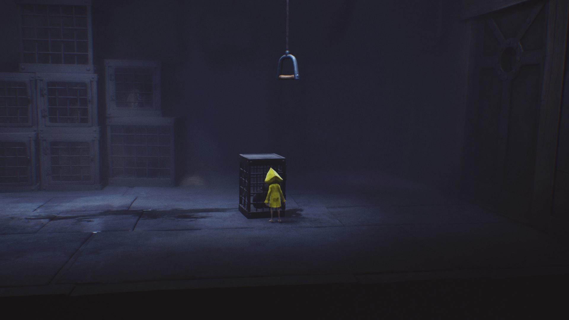 Przesuń klatkę pod dźwignię. - Ucieczka z klatki i pierwsze spotkanie z niewidomą istotą | The Lair - Little Nightmares - poradnik do gry