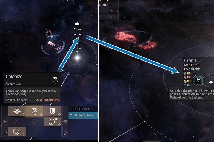Statek kolonizacyjny może postawić pierwszy krok do zajęcia systemu. Najlepiej wybierać na cel bardzo przyjazne planety. Białe kropki pod nazwami systemów podpowiedzą ci, które planety masz możliwość zasiedlić. - Kolonizacja, migracja i ewakuacja w Endless Space 2 - Endless Space 2 - poradnik do gry
