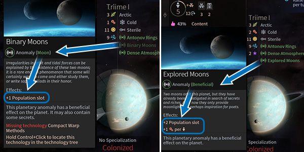 Niezbadany księżyc zazwyczaj zapewnia więcej miejsca dla mieszkańców, jednak aby uzyskać więcej bogactw należy go zbadać, tak jak inne anomalie. - Planety oraz anomalie - Endless Space 2 - poradnik do gry