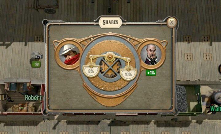 Waga wskazuje, na jakim postępie gry jesteś - jeśli przeciwnik uprzedzi cię i zdobędzie 51% - przegrasz - Cel i przebieg gry | Opis przejścia - Bounty Train - poradnik do gry