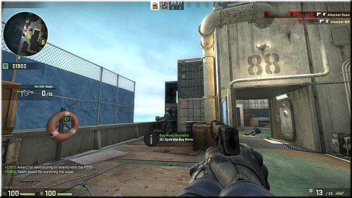 Z lewej strony znajduje się wcześniej wspomniane przejście w kontenerze - Misja 11 - Shipped: Boskie przeznaczenie - CS GO - poradnik do gry