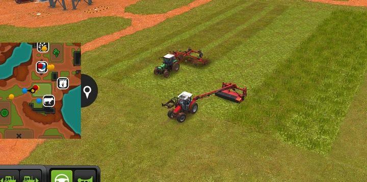 Kosiarka skróci trawę i umożliwi jej zbiór, a zgrabiarka ułoży ją w ładne rządki - Trawa, siano i kiszonka | Dla początkujących - Farming Simulator 18 - poradnik do gry