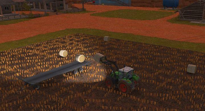 Ładowanie bel na naczepę jest całkiem przyjemne, możesz ich tam umieścić kilka warstw wysokości - Trawa, siano i kiszonka | Dla początkujących - Farming Simulator 18 - poradnik do gry