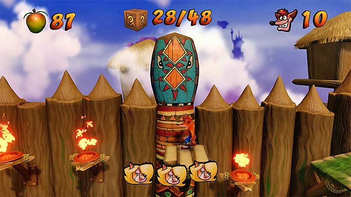 Najtrudniejszy moment tego etapu czeka Cię tuż po odblokowaniu pokazanego na dołączonym obrazku ostatniego punktu kontrolnego - Native Fortress | Crash Bandicoot - N. Sanity Island - Crash Bandicoot N. Sane Trilogy - poradnik do gry