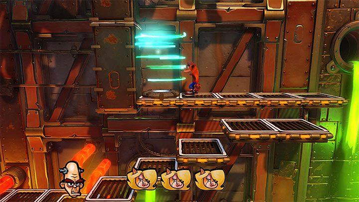 Kontynuuj podróż w prawo i nie zapomnij rozglądać się za nowymi tokenami, gdyż w początkowej części tego etapu do odnalezienia są jeszcze pierwszy token Tawny i drugi Nitrusa Brio - Heavy Machinery | Cortex Island | Opis przejścia - Crash Bandicoot N. Sane Trilogy - poradnik do gry