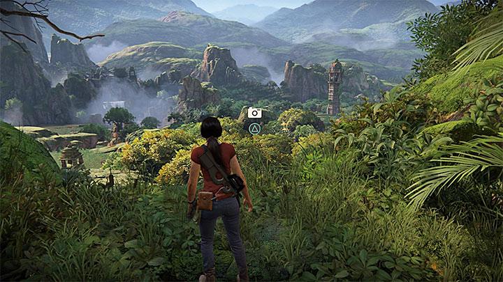Przykładowe miejsce do zrobienia zdjęcia - poznasz je po ikonie aparatu - Lista trofeów w Uncharted: Zaginione dziedzictwo - Uncharted: Zaginione Dziedzictwo - poradnik do gry