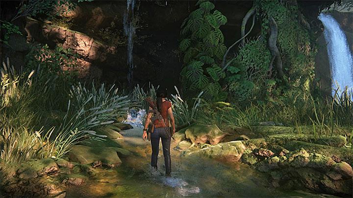 Podczas przemierzania nowej części dżungli zatrzymaj jeepa po dotarciu do lokacji z dwoma małymi wodospadami - 3 - Powrót do korzeni | Opis przejścia - Uncharted: Zaginione Dziedzictwo - poradnik do gry