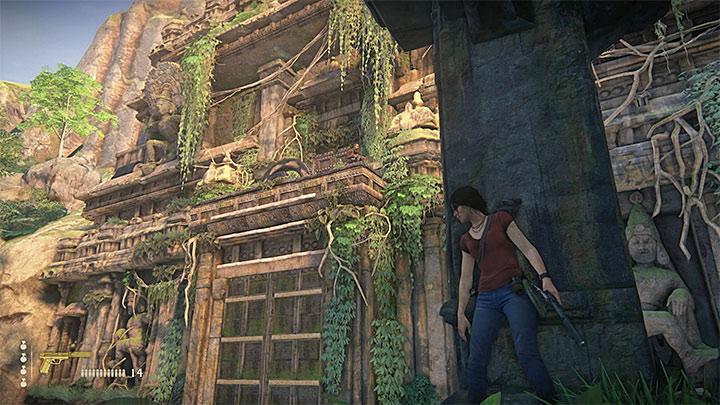 Jeden z przeciwników obserwuje okolicę z wysokiego muru - 3 - Powrót do korzeni | Opis przejścia - Uncharted: Zaginione Dziedzictwo - poradnik do gry