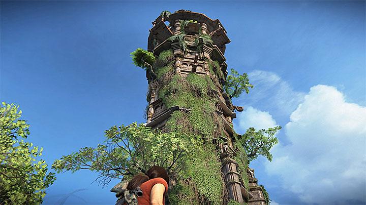 Jednym z opcjonalnych zadań jest zbadanie wieży znajdującej się w centralnej części Ghatów i zaznaczonej na podręcznej mapie Chloe od samego początku rozdziału - 4 - Ghaty Zachodnie - Mapa | Opis przejścia - Uncharted: Zaginione Dziedzictwo - poradnik do gry